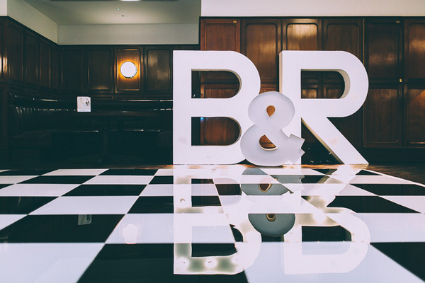 Large B & R wedding letters