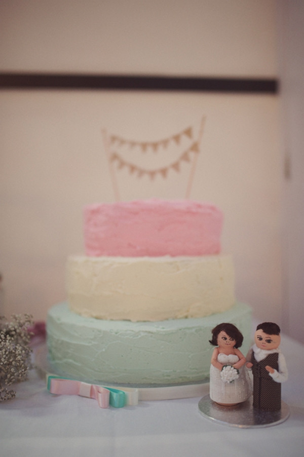 Pink, yellow and green wedding cake