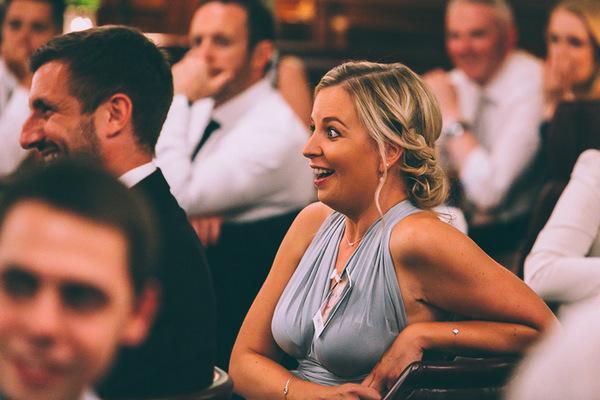 Bridesmaid surprised at speech