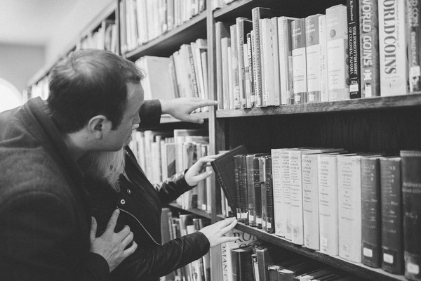 Couple looking for books in Middlesbrough Reference Library