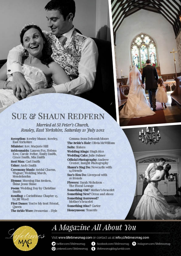 Back Cover of Lucid Style Personalised Wedding Magazine by LifetimesMAG