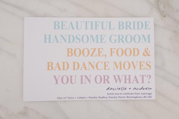 Colourful wedding invitation