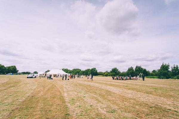 Wedding marquee in field