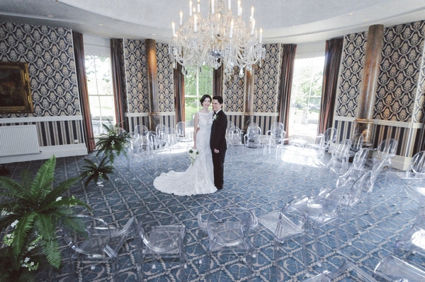 Bride and groom in ceremony room at Duke of Cornwall Hotel