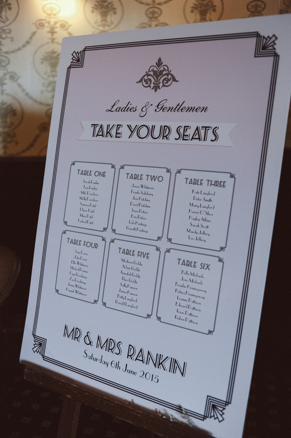 Retro Hollywood glamour style wedding table plan