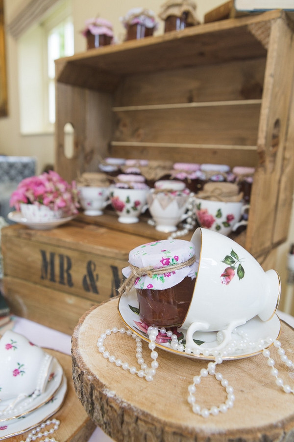 Jars of jam and teacups