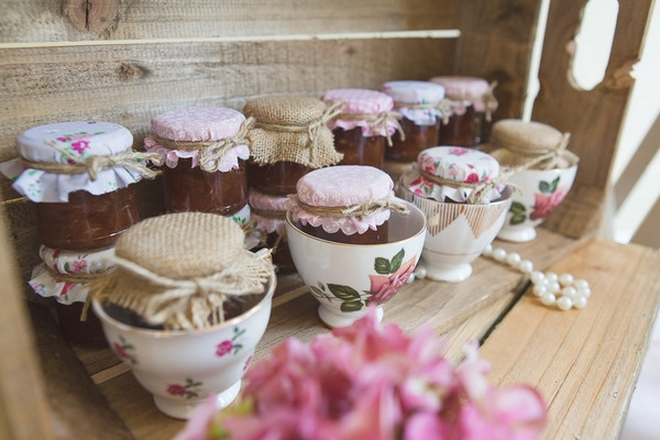 Jars of jam in teacups