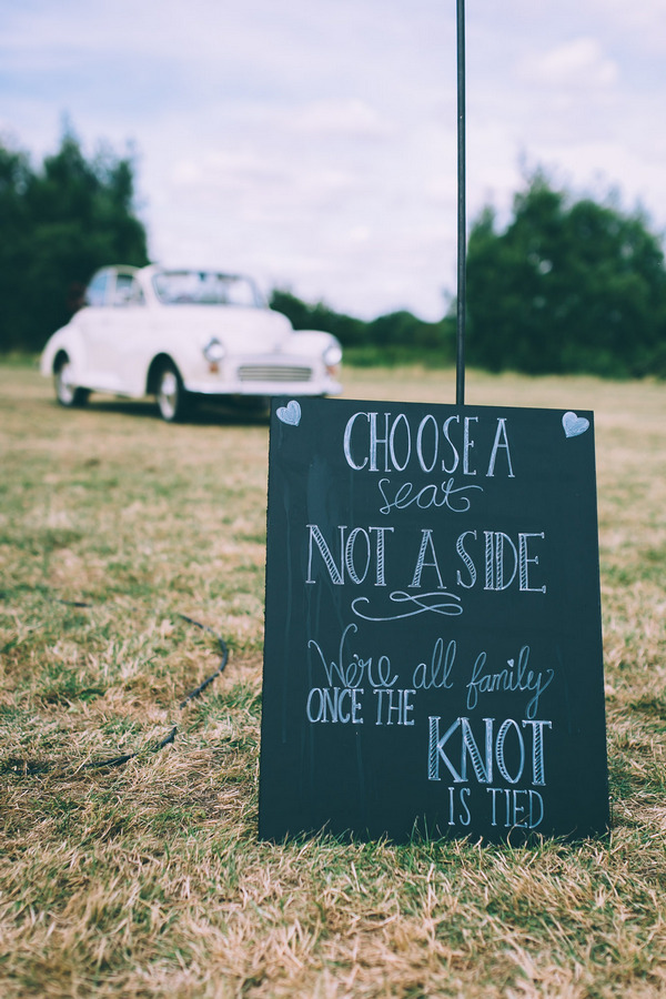 Chalkboard wedding ceremony sign