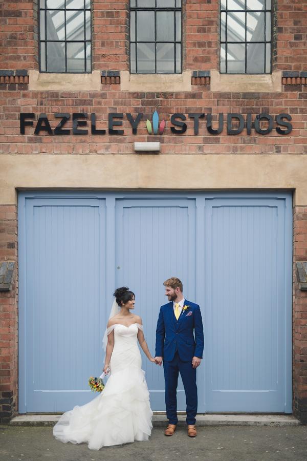 Bride and groom at Fazeley Studios