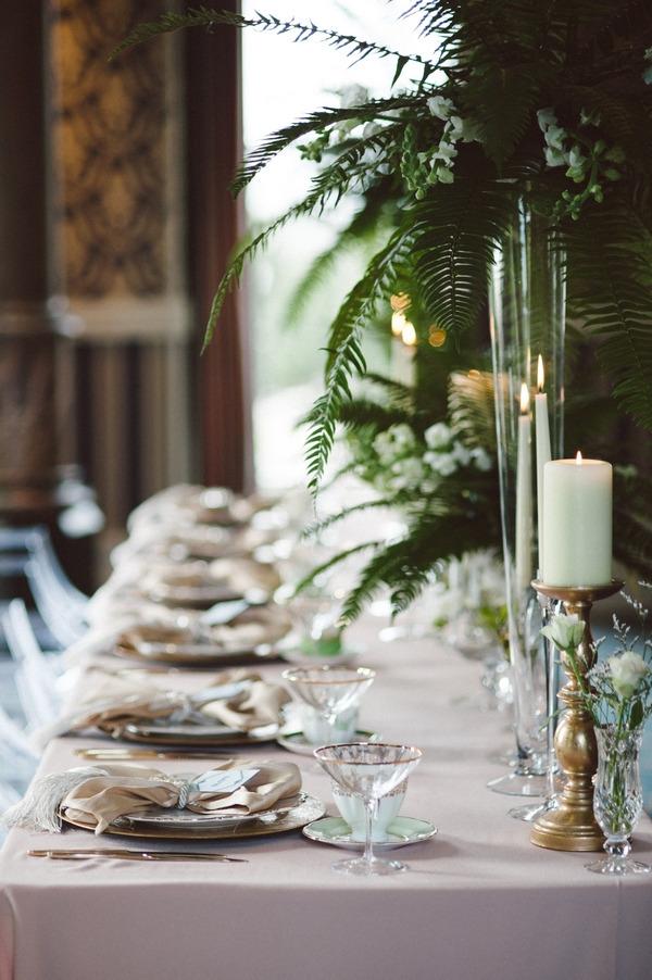 Glamorous wedding table layout