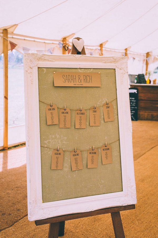 Luggage tag wedding table plan