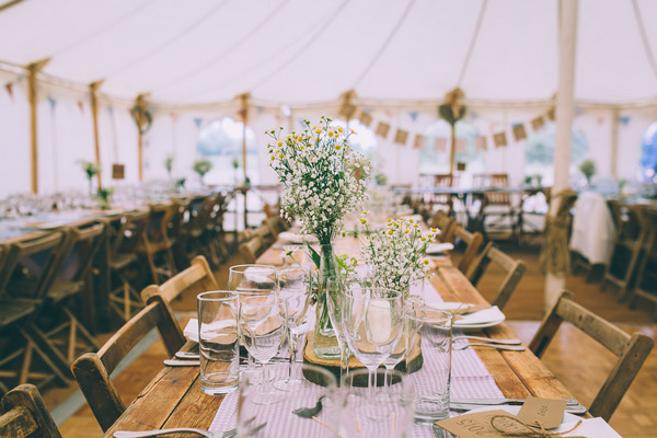 Vintage wedding table styling on long wedding tables