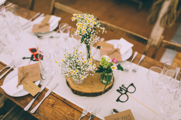 Rustic wedding table centrepiece