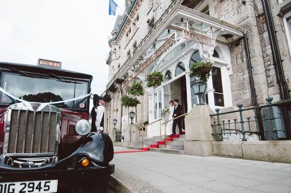 Bride and groom leaving Duke of Cornwall Hotel