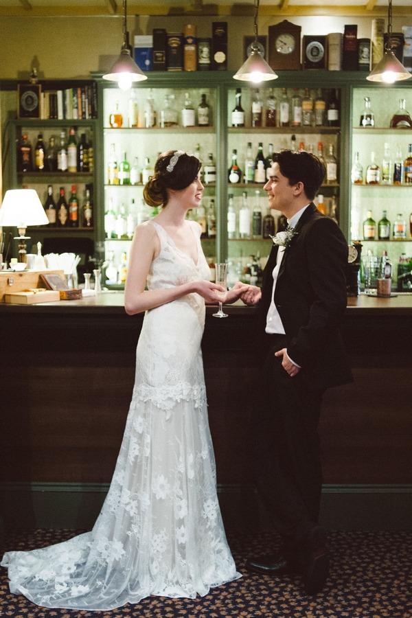 Retro bride and groom at bar