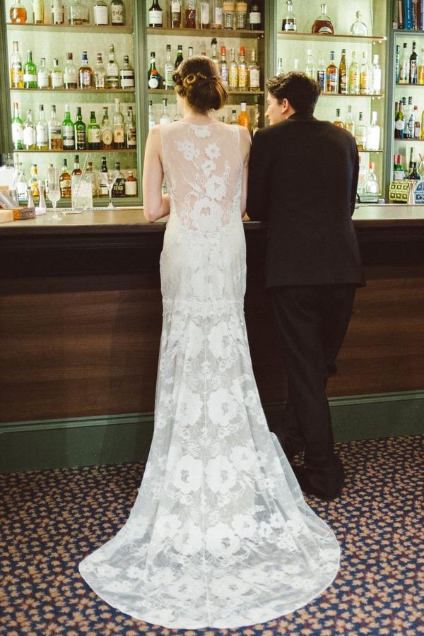 Back of brides long lace wedding dress