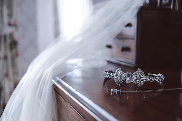 Bridal hairpiece on dresser
