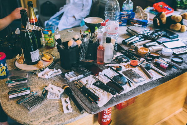 Make-up on table