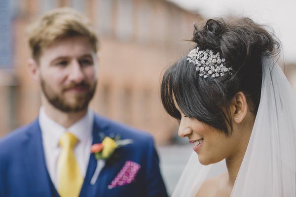 Bride with bridal headpiece