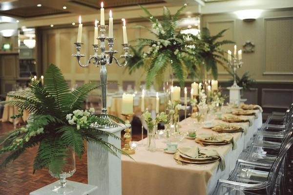 Candelabra and long wedding table