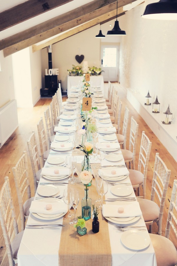 Long wedding table at Cosawes Barton