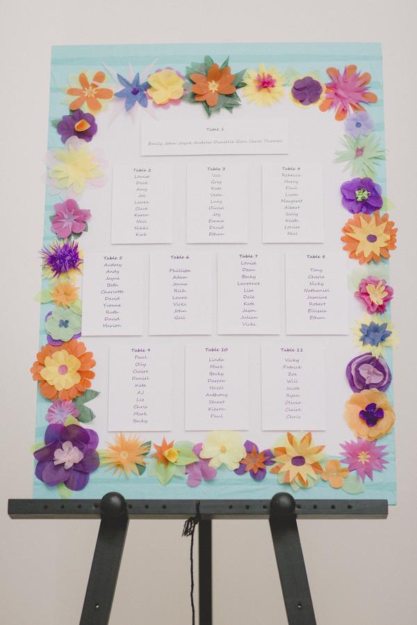 Colourful flower wedding table plan