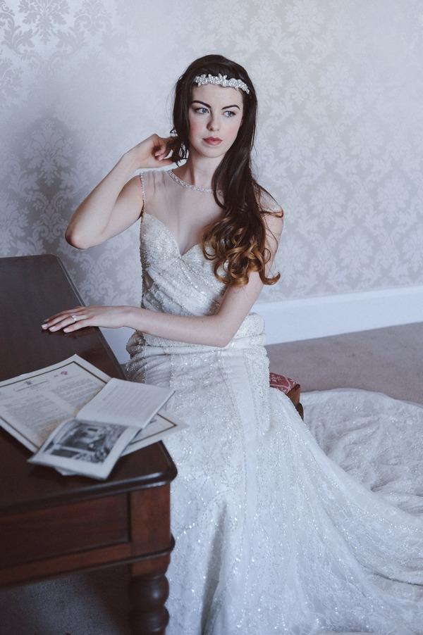 Retro bride sitting at dressing table