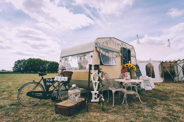 Caravan with vintage wedding props