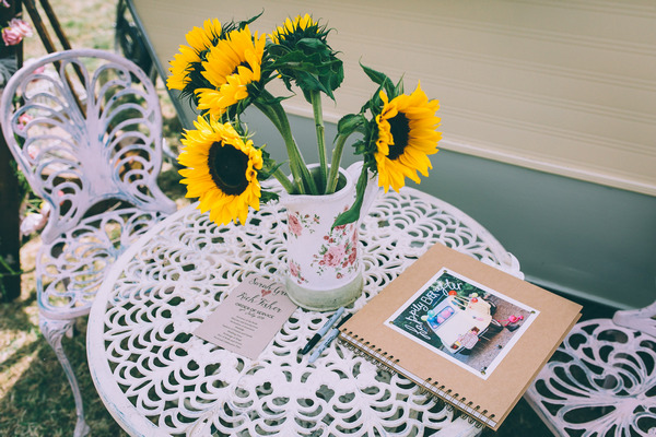 Sunflowers and wedding guest book