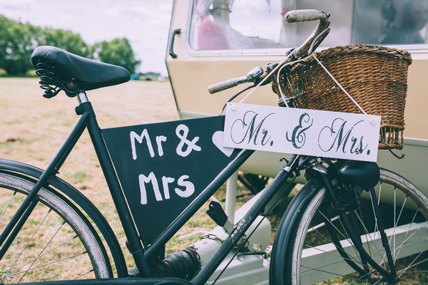 Mr and Mrs vintage bicycle