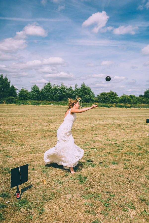 Bride throwing shot put