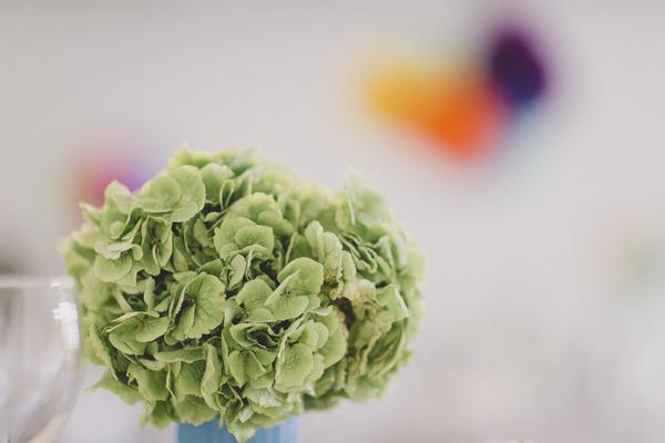 Green leafy wedding table flower
