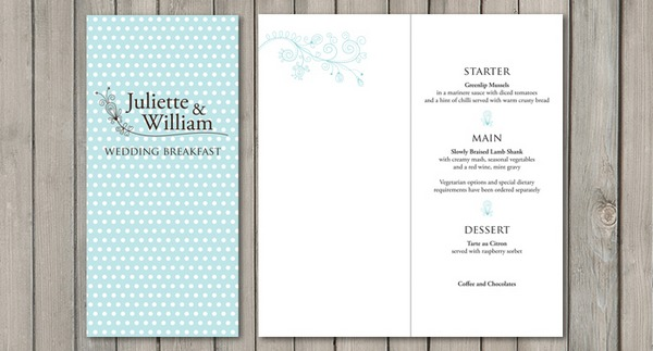 Dotty Wedding Menu - Paperchain Wedding Stationery