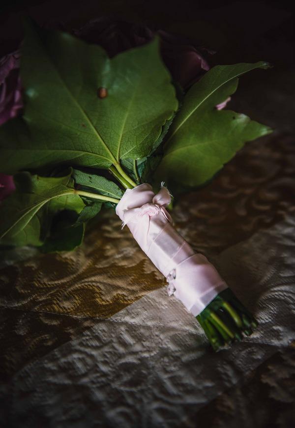 Stem of bridal bouquet