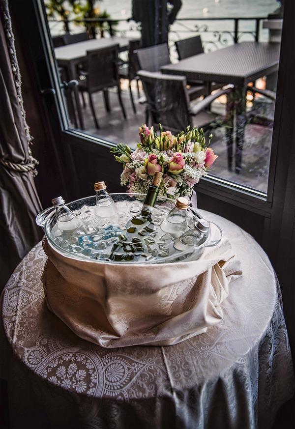 Ice bucket with bottles of wine