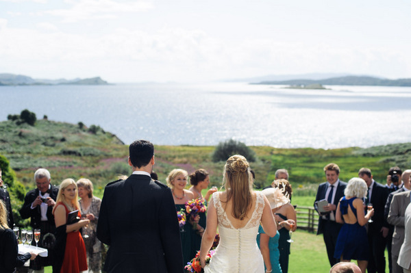 Wedding party in front of Loch Melfort