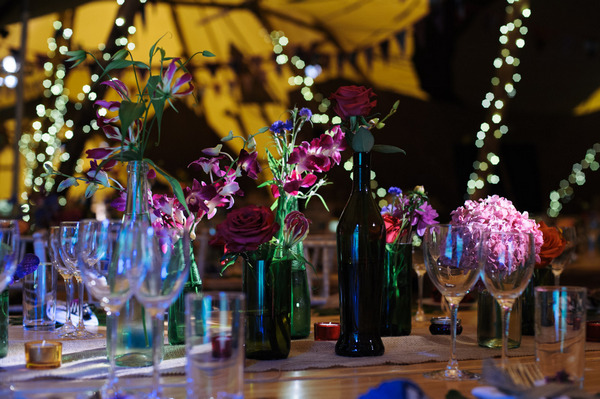 Colourful wedding table display