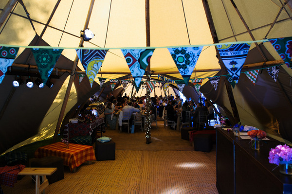 Bunting in wedding tipi