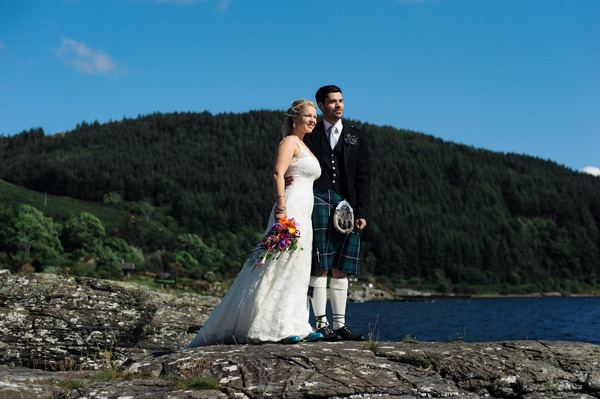 Bride and groom by Loch Melfort