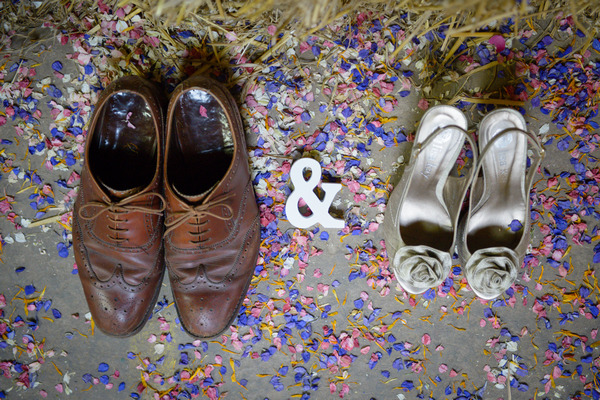 Bride and Groom Shoes with Confetti from Shropshire Petals