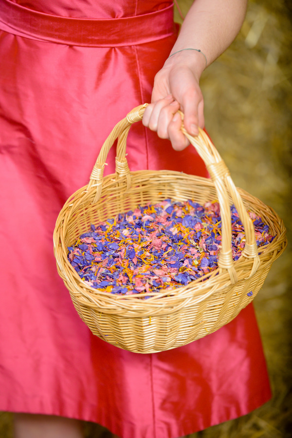 Confetti Basket with Raspberry Fool, Midnight Blue and Ginger Snap Confetti from Shropshire Petals
