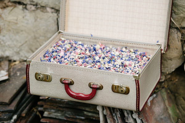 Kaleidoscope Confetti from Shropshire Petals in Vintage Suitcase