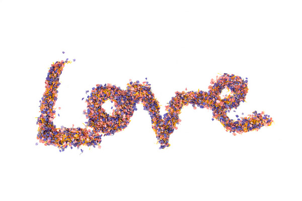 Love Spelt with Confetti from Shropshire Petals