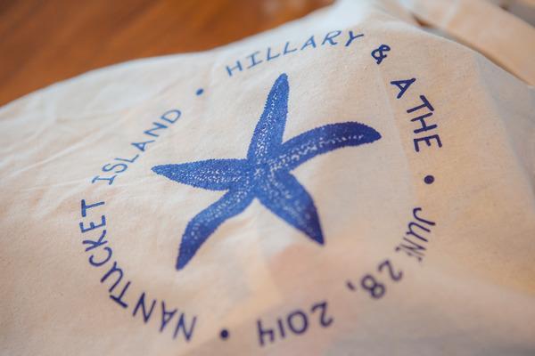 Starfish motif on wedding bag