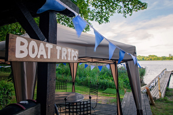 Boat trips sign by lake