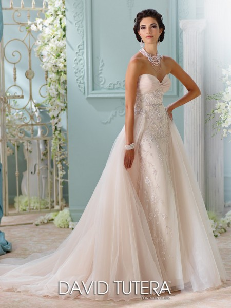 Picture of 116228 - Edan Wedding Dress with Train - David Tutera for Mon Cheri Spring 2016 Bridal Collection