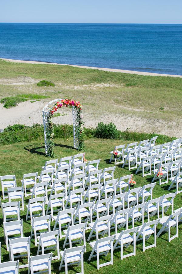 Wedding ceremony seating on Nantucket Island