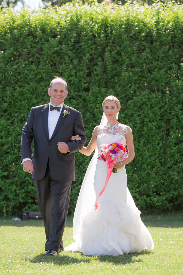 Father being walked down aisle