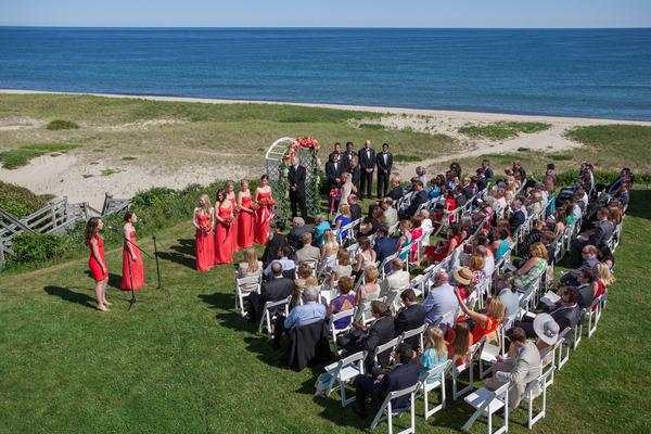 Outdoor wedding ceremony on Nantucket Island