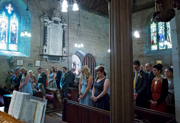 Wedding guests in church